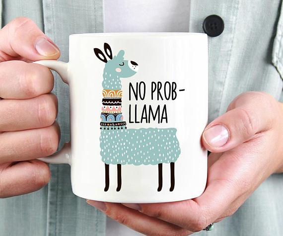 50+ Lovely Llama Crafts, Printables, SVG's DIY's, Food and Gift Ideas: No Prob-llama Mug from MomentidiVita on Etsy
