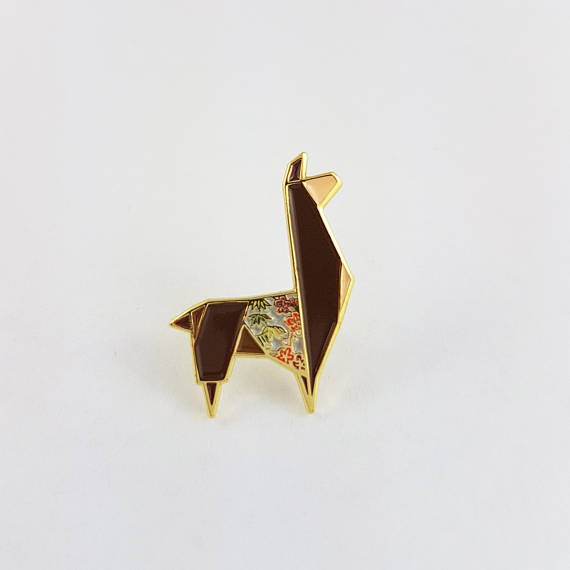 50+ Lovely Llama Crafts, Printables, SVG's DIY's, Food and Gift Ideas: Origami Llama Pin from Fold It Creations