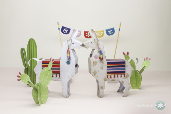 50+ Lovely Llama Crafts, Printables, SVG's DIY's, Food and Gift Ideas: Printable Llama Paper Toy from Faltmanufaktur