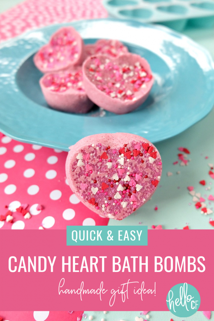 These Easy DIY Candy Heart Bath Bombs are scented like cotton candy and are just about as sweet as can be! They would make the best handmade gift idea for Valentine's Day, teacher's gifts, mother's day, birthday's, birthday party favors or shower favors! Fun and simple to make! Even kids can help with these heart shaped bath bombs! #bodyproducts #beauty #handmadegiftidea #DIY #Valentinesday #bathbombs #DIYBathBombs