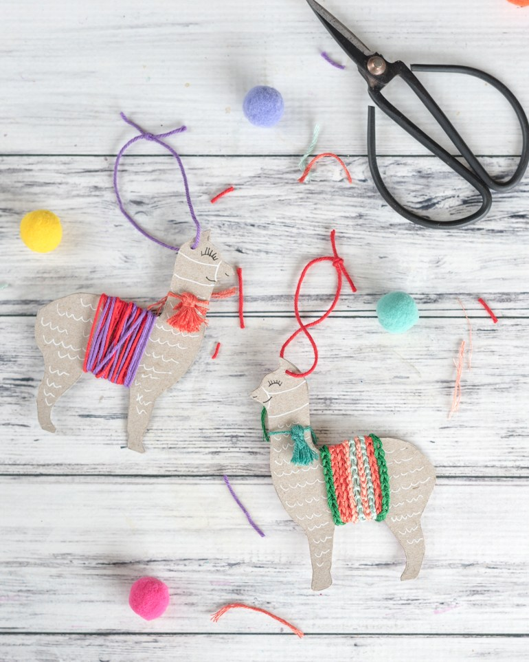 50+ Lovely Llama Crafts, Printables, SVG's DIY's, Food and Gift Ideas: Upcycled Llama Ornament Tutorial from Artisan Life