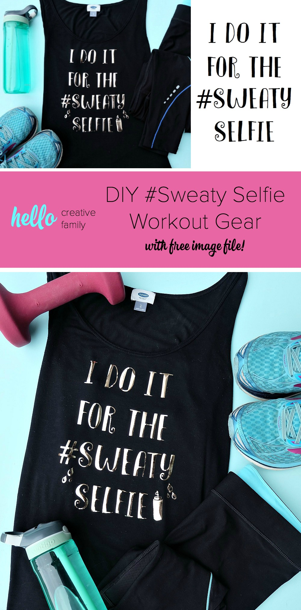 "Having cute workout gear makes it even more fun to workout! Create this adorable DIY Workout Shirt that says ""I do it for the #SweatySelfie"" to keep you motivated at the gym! This post has a free cut file along with a step by step tutorial with photos for making this easy project using your Cricut! #CricutMade #Fitness #FitnessGear #Crafts #CricutProject"
