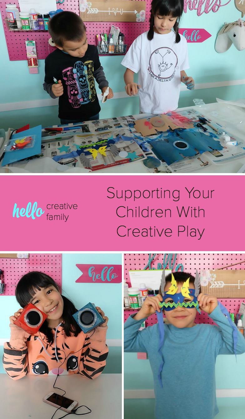 How do you support creative play with your children? Crystal from Hello Creative Family shares thoughts along with how Rose and Rex supports imaginations. Crystal's kids make a DIY Superhero Mask and a DIY Cardboard Speaker!