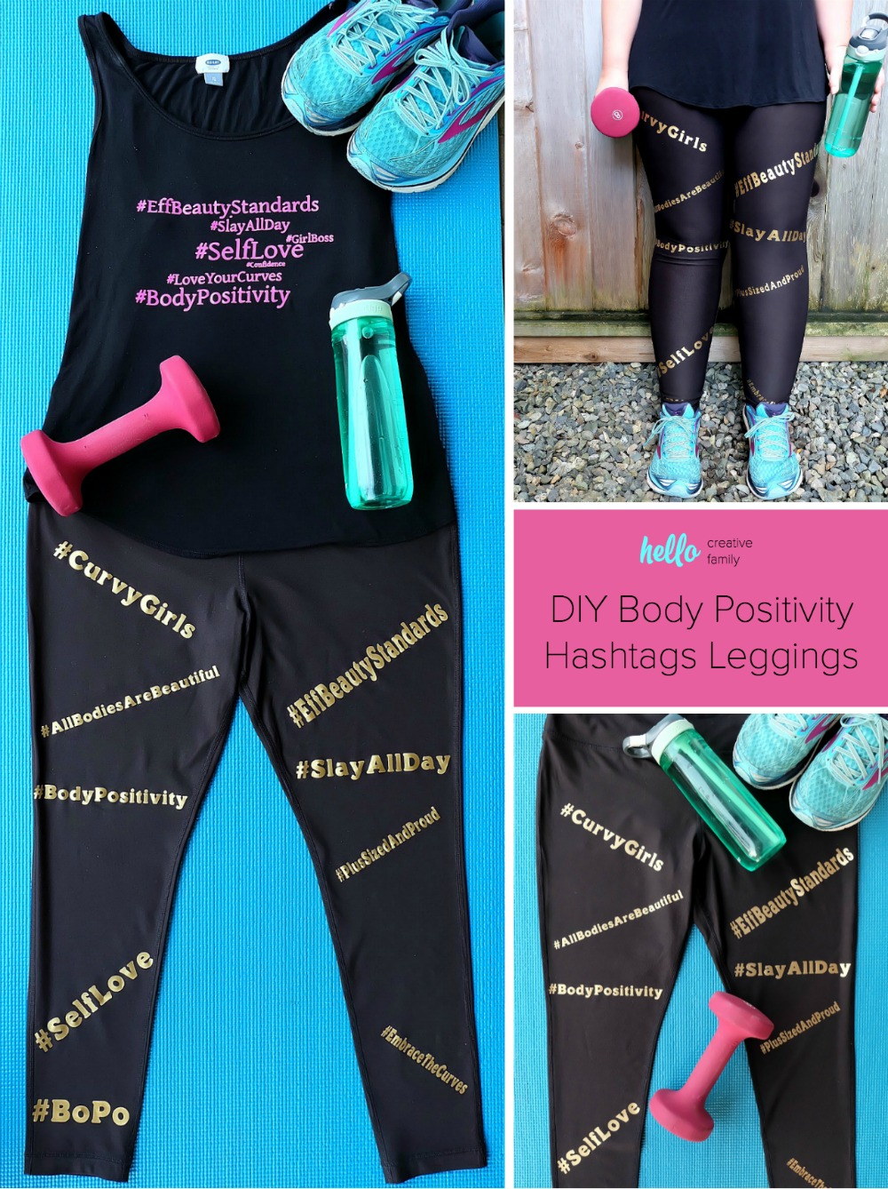 Embrace the curves, love your body, and encourage others to feel the self love with these awesome DIY Body Positive Hashtags Leggings. Perfect for plus sized fitness fashion, this easy project is fun and playful. Made using the Cricut Explore or Cricut Maker and ultra stretchy Cricut SportFlex Iron-On. Free cut file. #ad #CricutStrongBond #CricutMade #Cricut