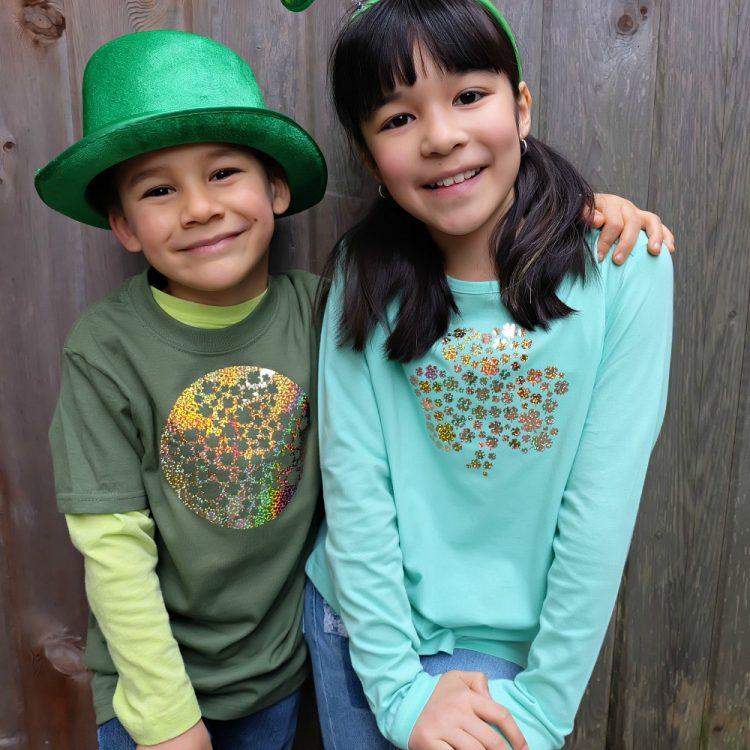 Cricut St. Patrick's Day DIY Shamrock Shirt- 1 Cut, 2 Shirts! Free Cut File!