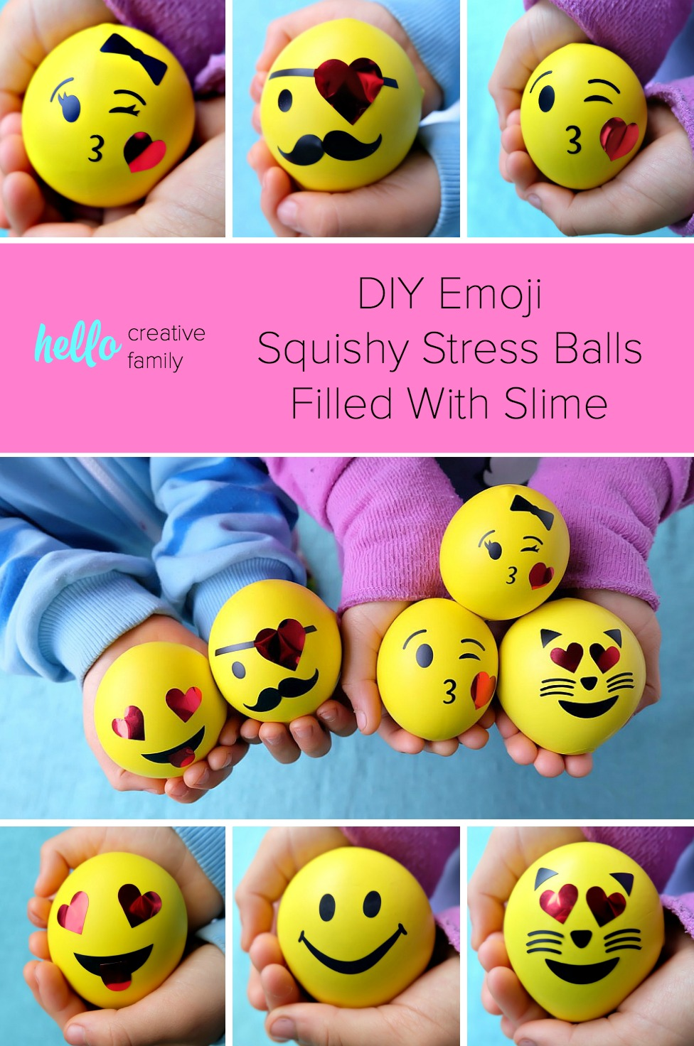 These easy DIY Emoji Squishy Stress Balls Filled With Slime take all of your kids favorite things and puts it into one fun kids craft! Emojis? Check! Squishies? Check! Slime? Check! Perfect for non-candy Easter Basket Stuffer ideas, Valentine's Day, Birthday Party Favors and more! Make using your Cricut or with balloons pre-printed with emojis or happy faces. #Crafts #PartyFavors #emojis #slime #Cricut