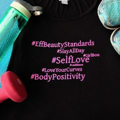 DIY Body Positive Hashtag Word Art Workout Top