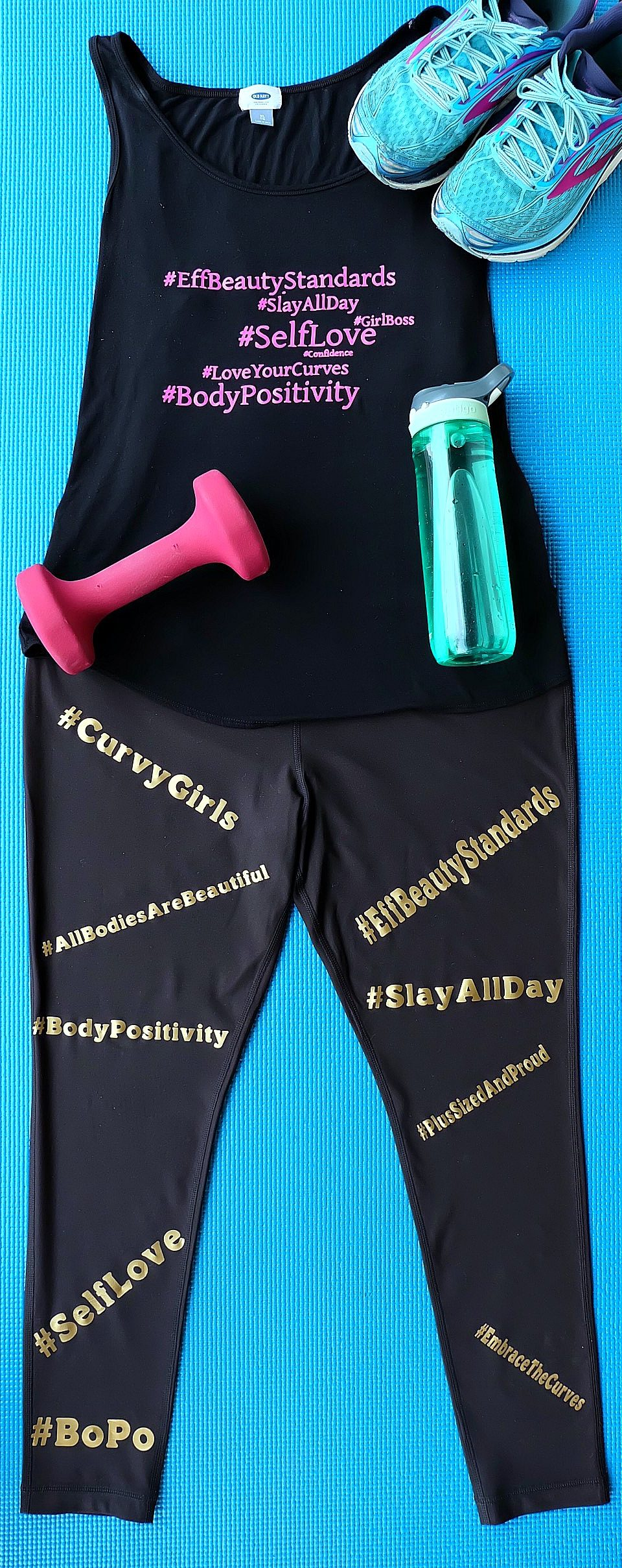 Embrace the curves, love your body, and encourage others to feel the self love with these awesome DIY Body Positive Hashtag Workout Top and Leggings. Perfect for plus sized fitness fashion, this easy project is fun and playful. Made using the Cricut Explore or Cricut Maker and ultra stretchy Cricut SportFlex Iron-On. Free cut files. #BodyPositive #fitness #PlusSizedFashion #CricutMade #Cricut
