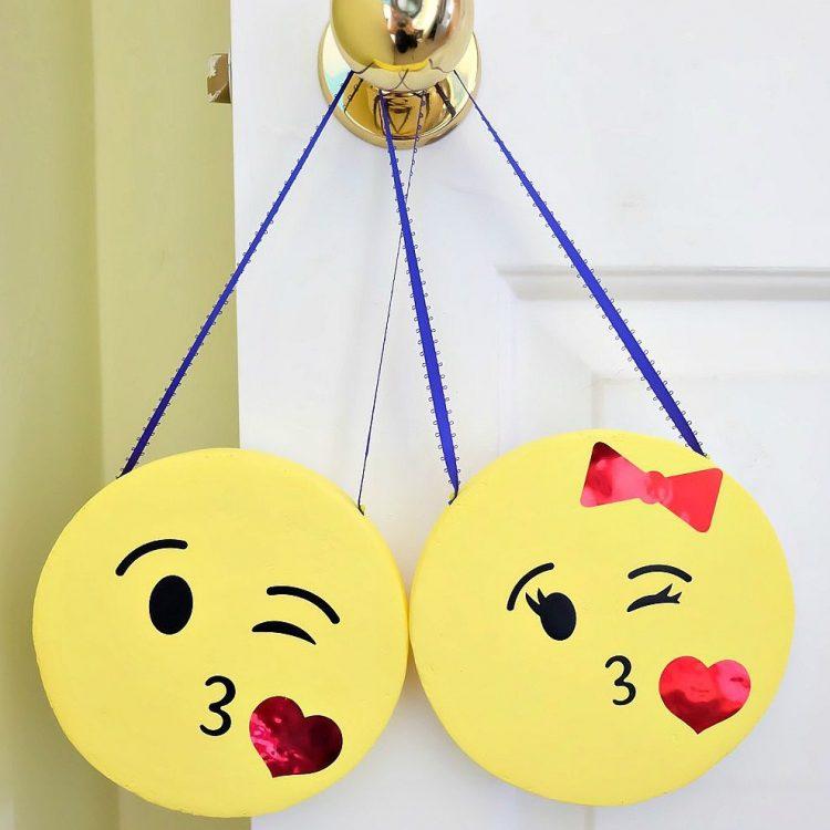 His and Her DIY Emoji Door Hangers