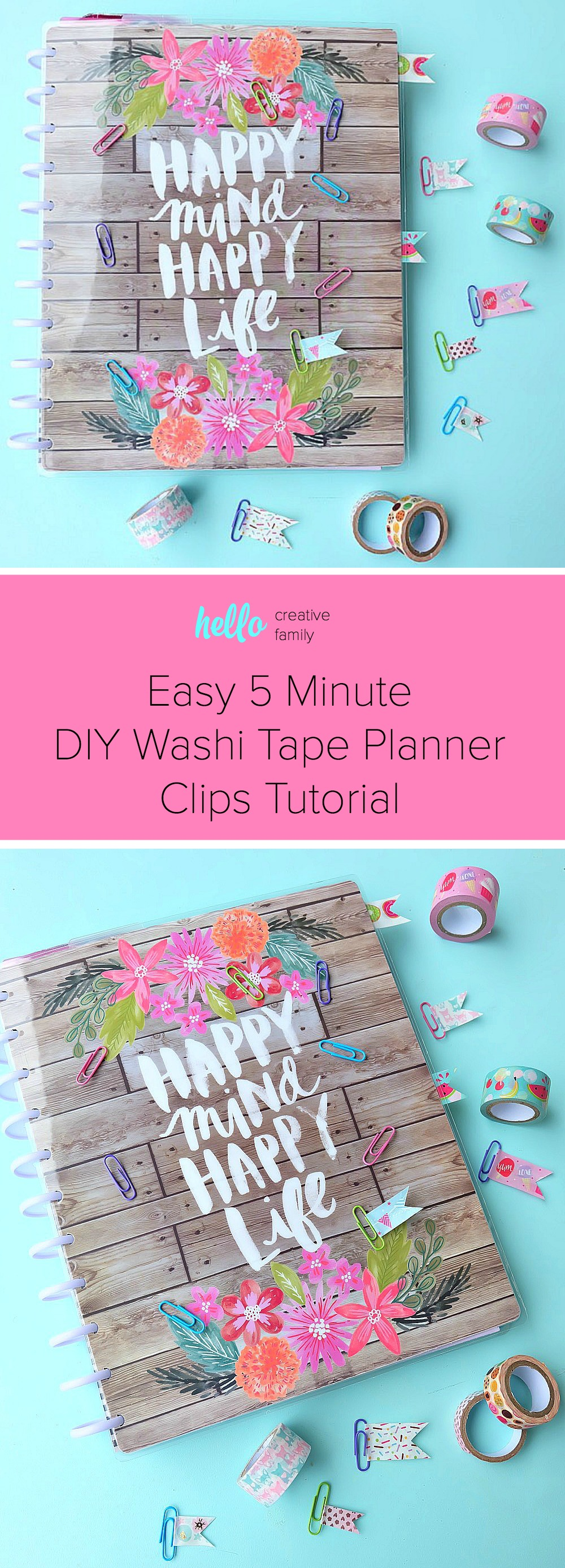 Planner addicts unite with this adorable and easy 5 minute DIY Washi Tape Planner Clips Tutorial. Turn paper clips and washi tape into adorable bookmarks to decorate your Happy Planner or bullet journal. You will love this fun DIY planner accessories craft project with simple step by step photos! #happyplanner #washitape #crafts #DIY