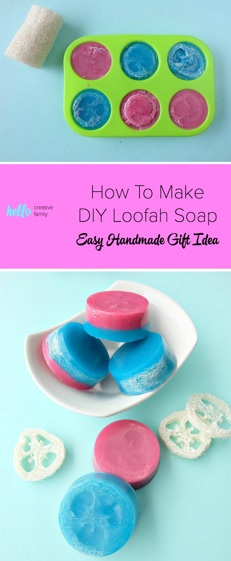 Soap making doesn't have to be complicated! In this post you'll learn how to make DIY Loofah Soap in minutes for an easy handmade gift idea! Combine the exfoliating power of natural loofah with the pampering properties of beautifully scented handmade soap! A fun and easy DIY body product! #naturalbeauty #beautyproducts #DIY #soapmaking