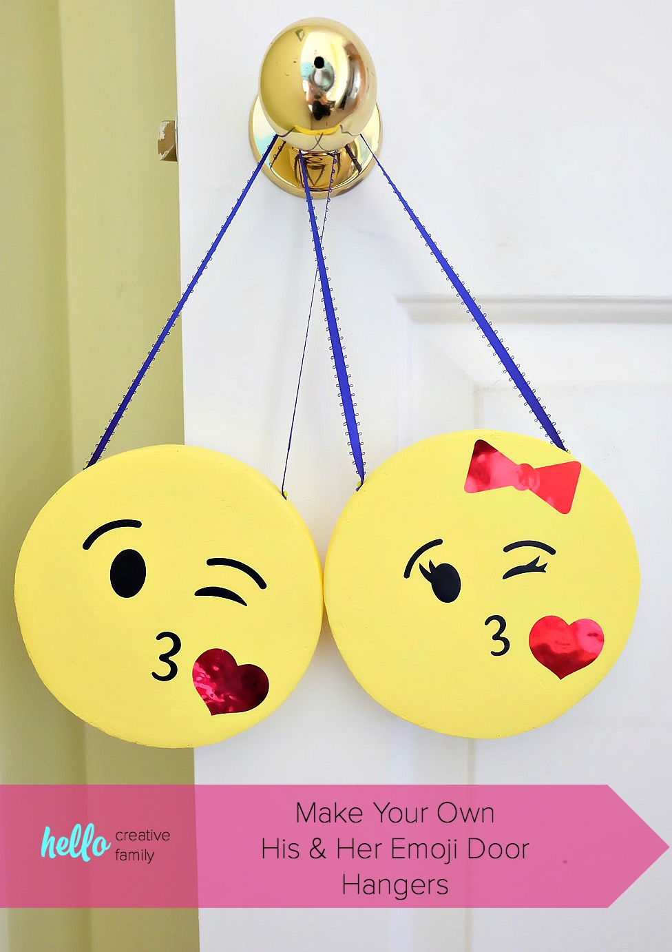 Know a kid that is obsessed with emojis? These his and her kissy face DIY emoji door hangers are SO CUTE! A fun and easy kids craft project that would also be perfect for an emoji birthday party! Pull out your Cricut and cut the faces for this fun project! #DIY #Craft #Emojis #Cricut #CricutMade