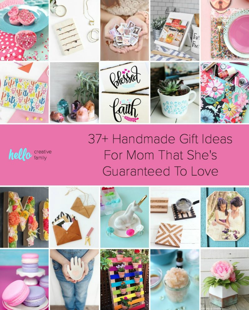 """Whether you're looking handmade gift ideas for mom for Mother's Day, birthdays, Christmas or a """"just because"""" gift, we've got you covered with over 37 handmade gift ideas women are sure to love! So pull out those DIY supplies, head into your craft room and get creating! You're mama will thank you!Includes easy ideas for beginner crafters and sewers too! #HandmadeGift #crafts #diy #giftideas #mothersday"""