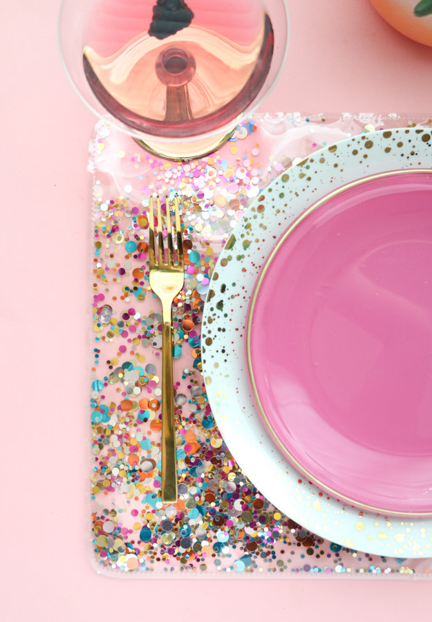 37+ Handmade Gift Ideas For Mom That She's Guaranteed To Love: DIY Confetti Placemats from A Kailo Chic Life
