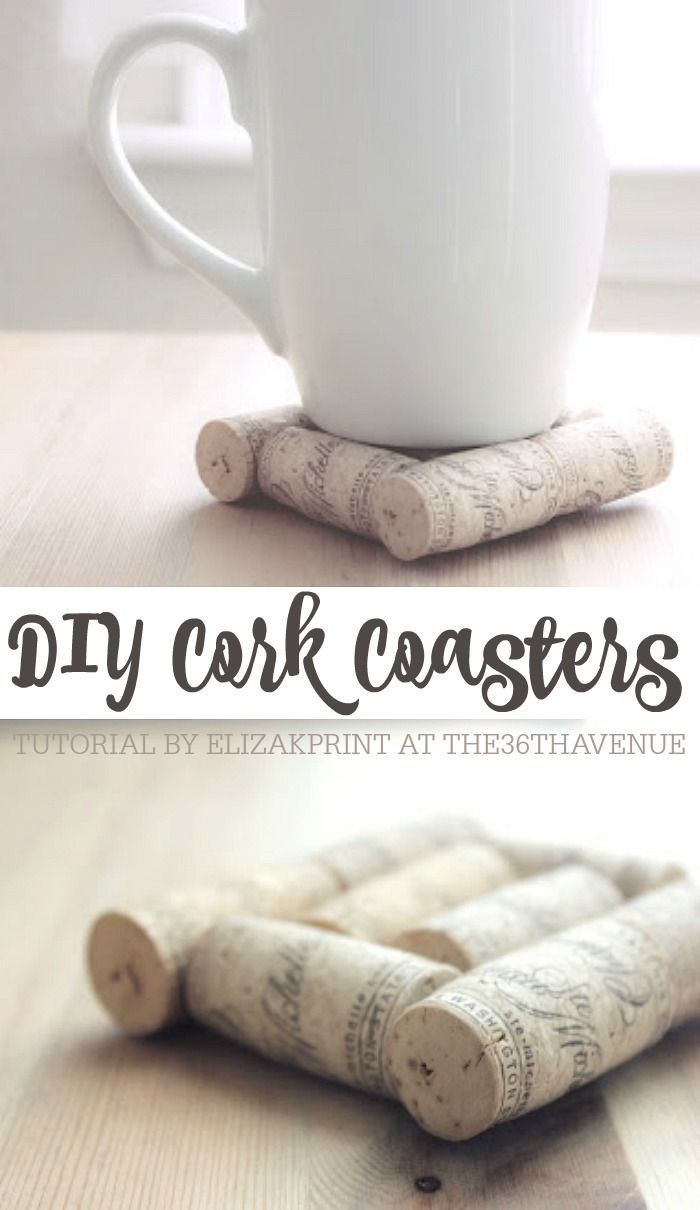 37+ Handmade Gift Ideas For Mom That She's Guaranteed To Love: DIY Cork Coasters from The 36th Avenue