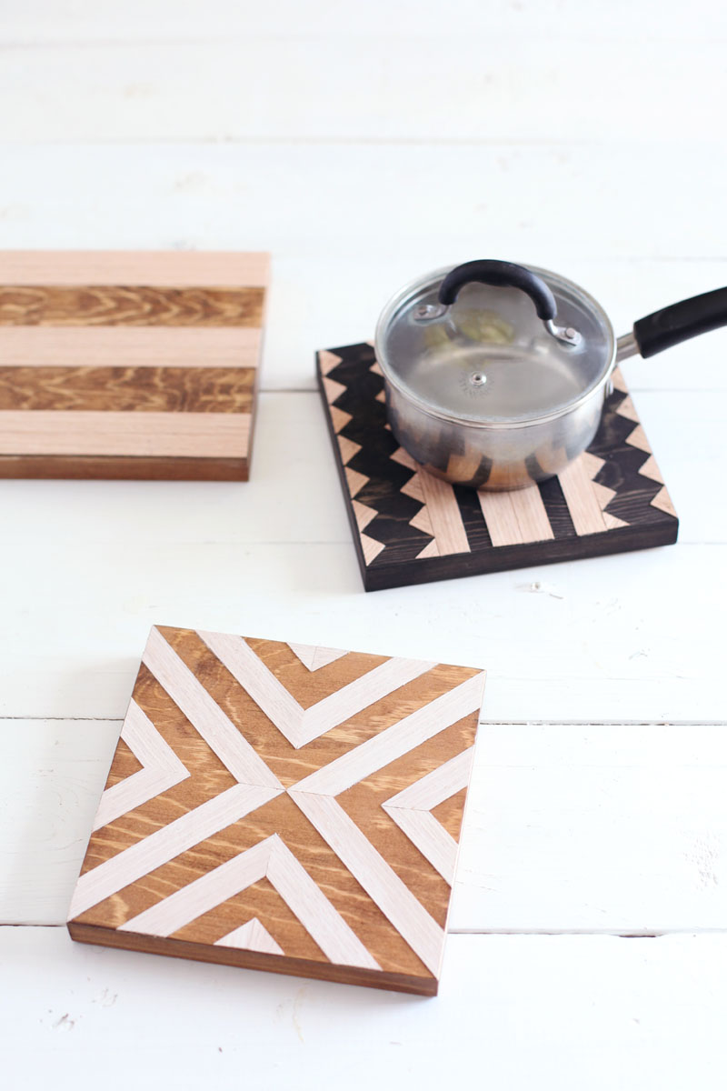 37+ Handmade Gift Ideas For Mom That She's Guaranteed To Love: DIY Geometric Wood Trivets from A Beautiful Mess