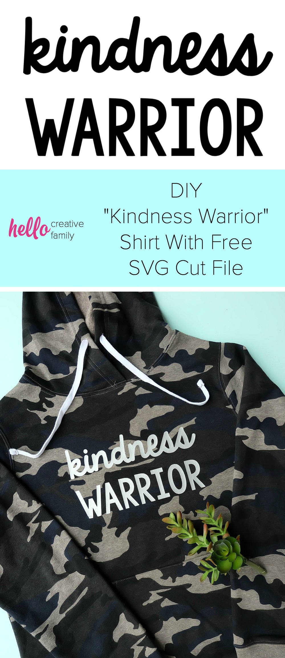 The world needs more kindness! Let's create an army of kindness with this easy to make DIY Kindness Warrior Shirt. Includes step by step instructions on how to make this project using a Cricut, along with a free SVG cut file compatible with Cricut or Silhouette. The perfect hoodie for kids or adults to spread love instead of hate, discourage bullying and make the world a better place. #DIY #Cricut #Silhouette #SVG #CricutMade