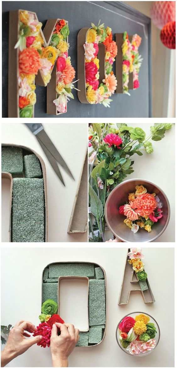 37+ Handmade Gift Ideas For Mom That She's Guaranteed To Love: DIY Mom Blooming Floral Letters from Urbanic Paper