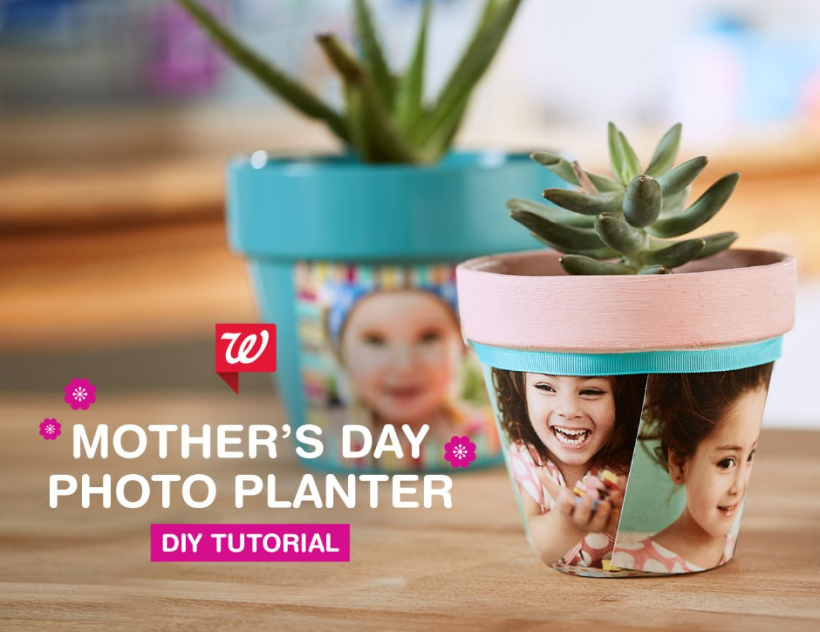 37+ Handmade Gift Ideas For Mom That She's Guaranteed To Love: DIY Mother's Day Photo Planters from Walgreens