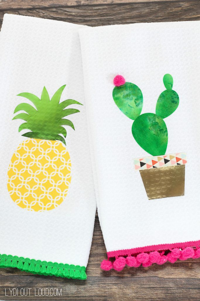 37+ Handmade Gift Ideas For Mom That She's Guaranteed To Love: DIY No Sew Pineapple and Cactus Kitchen Towels from Lydi Out Loud