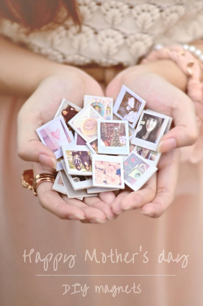 37+ Handmade Gift Ideas For Mom That She's Guaranteed To Love: DIY Polaroid Magnets from Sundae Sins