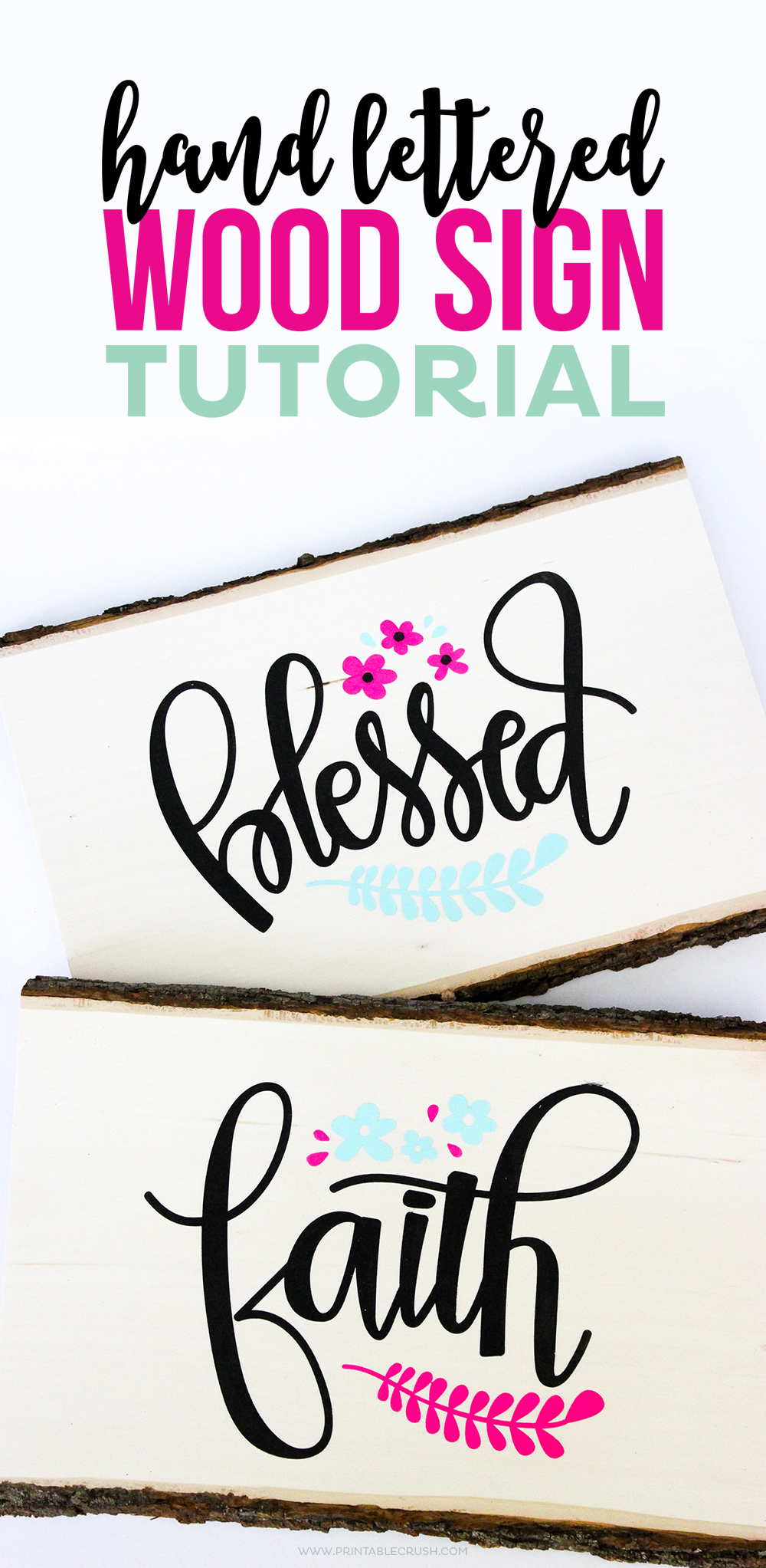 37+ Handmade Gift Ideas For Mom That She's Guaranteed To Love: DIY Wood Word Signs from Printable Crush