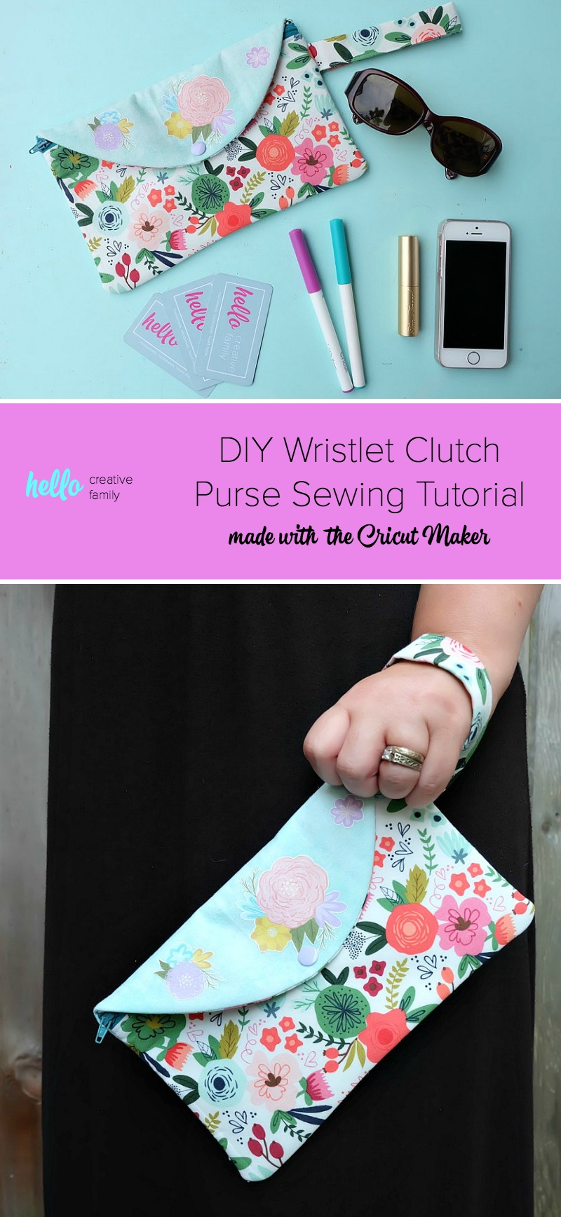 Learn how to sew an adorable DIY Wristlet Clutch Purse with this fabulous sewing tutorial with step by step photos and instructions! Every girl needs the perfect clutch, so why not make one! Fit all of your essentials into this DIY Wristlet Clutch Purse! Comes with a free cut file for making this craft project on the Cricut Maker. Make extras for handmade gift ideas for the women in your life! #Cricut #CricutMade #sewing #crafts