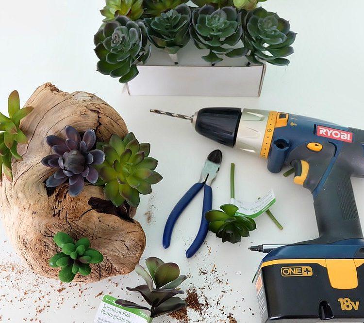 Easy DIY Faux Succulent Driftwood Planter