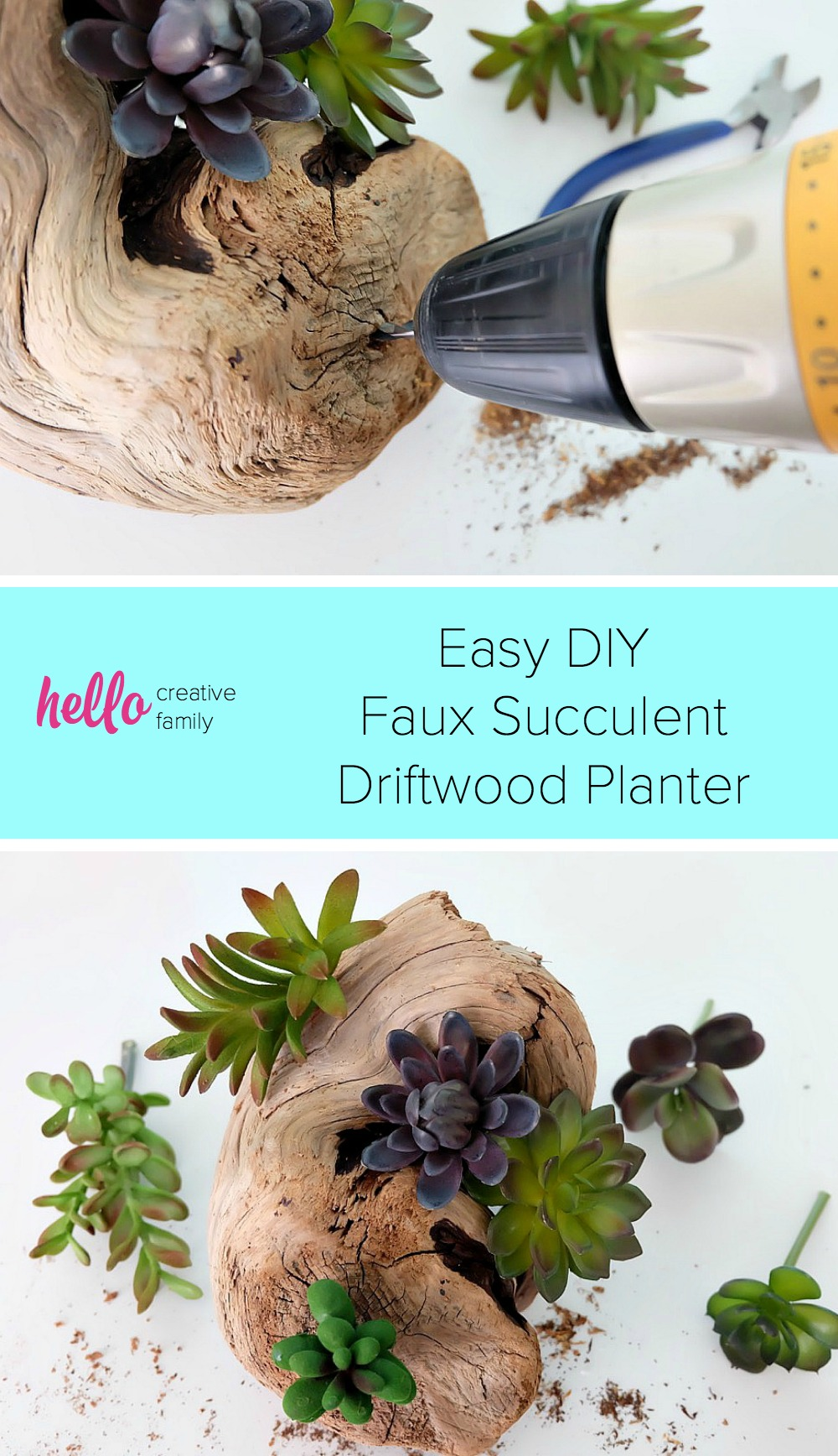 The perfect DIY for for decorating a beach cottage, as ocean themed wedding centerpieces or for a bit of pretty greenery in your home! Collect treasures while beach combing then make this pretty and easy DIY faux succulent driftwood planter. Perfect for those with a black thumb! #DIY #Beach #Succulents