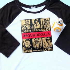 Looking for a great handmade gift idea for a Star Wars fan? This DIY Star Wars Squad Goals shirt design made on the Cricut Maker or Cricut Explore fits the bill. Let the world know you are down with C-3PO, Princess Leia, R2-D2, Han Solo, Chewbacca and Luke Skywalker! A fun and easy project! #CricutMade #CricutStarWars #Cricut #StarWars #MayTheForthBeWithYou