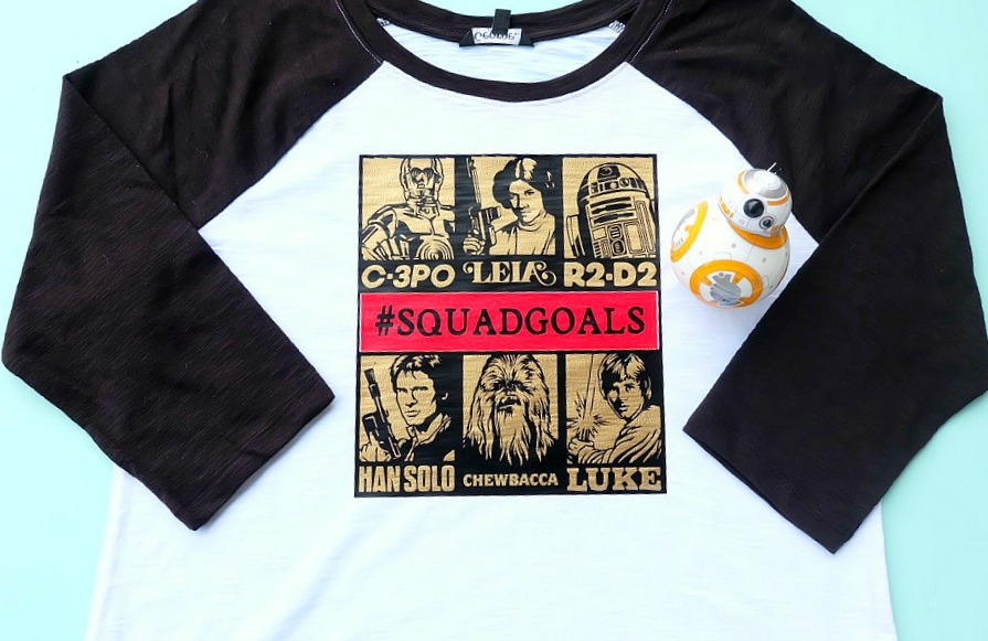 Star Wars fans will flip for this DIY Star Wars Squad Goals shirt design made on the Cricut Maker or Cricut Explore. Let the world know you are down with C-3PO, Princess Leia, R2-D2, Han Solo, Chewbacca and Luke Skywalker! Makes a fantastic handmade gift for Star Wars Fanatics! #CricutMade #CricutStarWars #Cricut #StarWars #MayTheForthBeWithYou