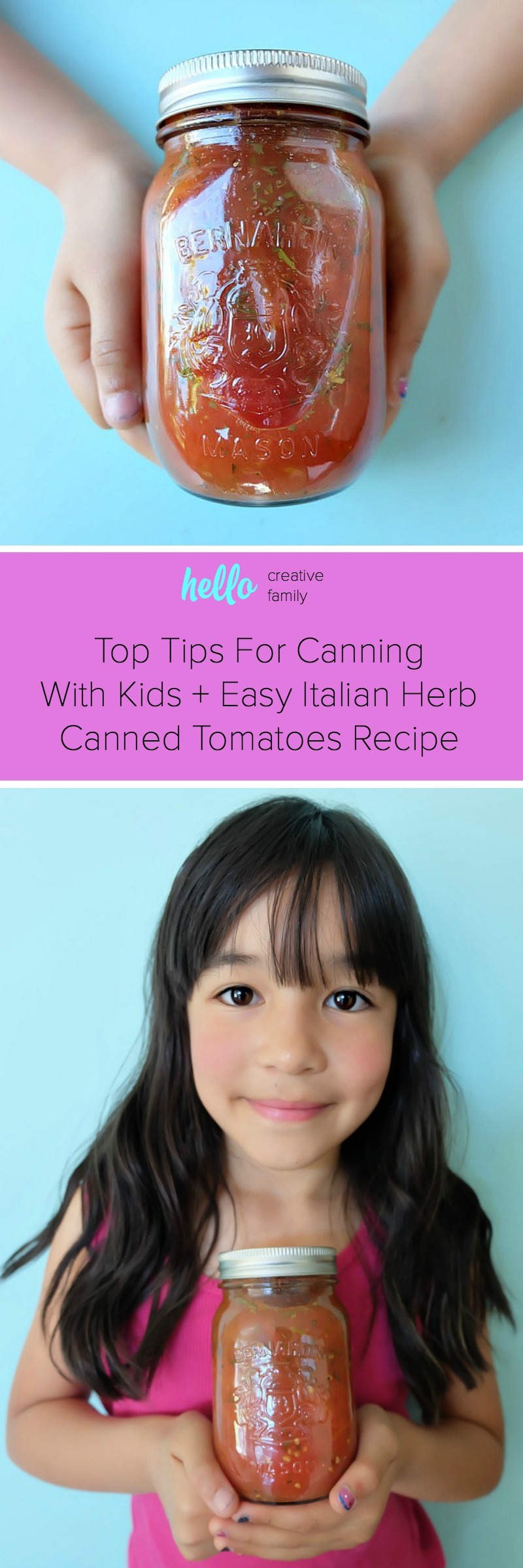 Canning can seem daunting if you've never tried it before, but we're here to make it super simple! We're sharing our top tips for canning with kids so that you can get started canning with your family this summer! Also find our recipe for Easy Italian Herb Canned Tomatoes with step by step photos and instructions for those new to canning and trying it for the first time! #Canning #FoodPreservation #Recipes #Tomatoes #CookingWithKids #sponsored
