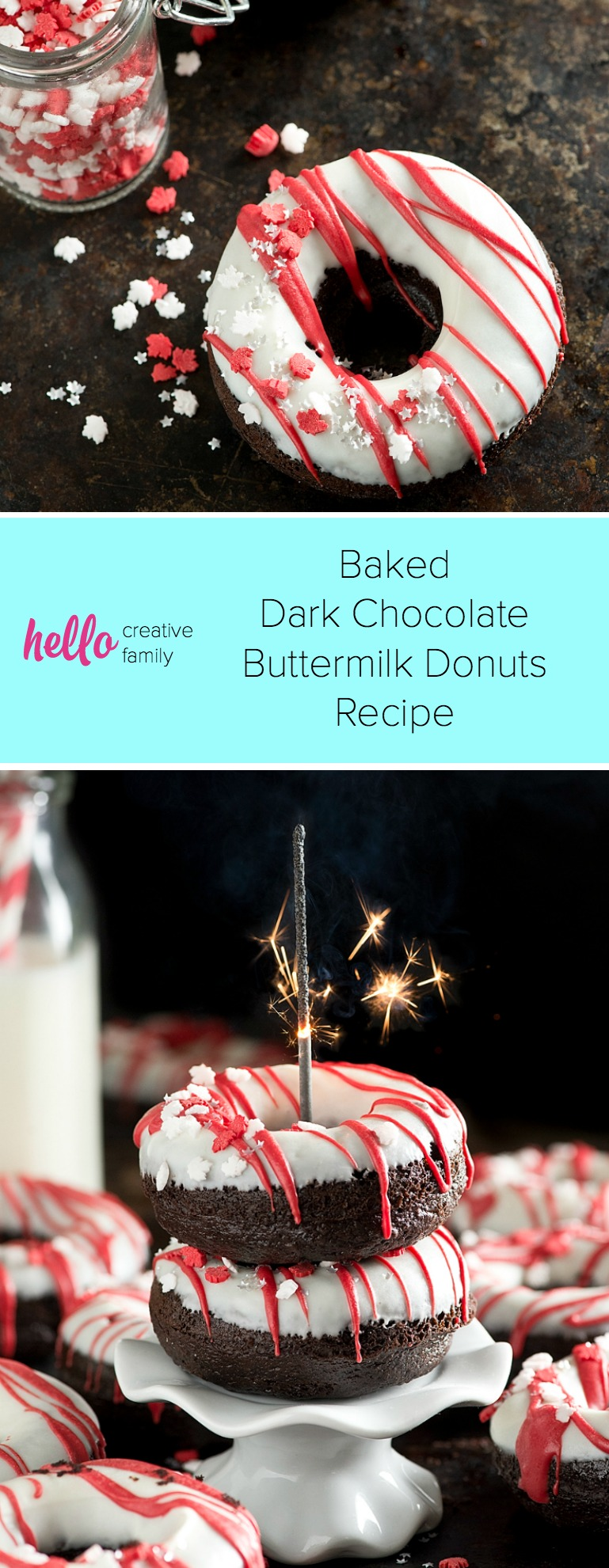Making donuts at home is so much fun and your family will love them! This moist and delicious Baked Dark Chocolate Buttermilk Donuts Recipe can be made and glazed in under an hour! A perfect rich and tender, chocolate-y cake donut! So easy and perfect for entertaining or special celebrations like Canada Day! #Baking #donuts #CanadaDay #Dessert
