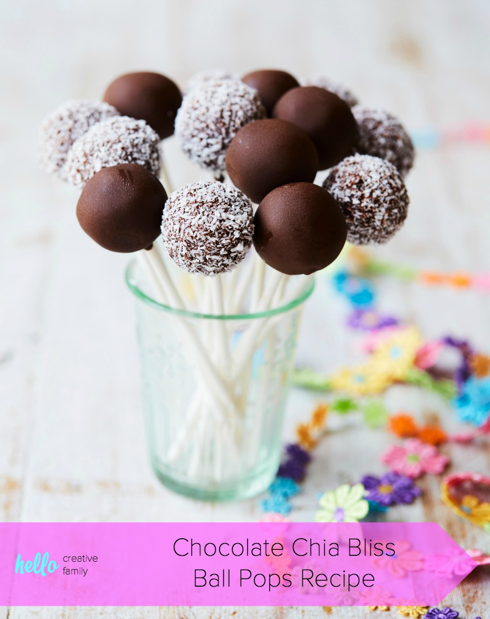 This healthy Chocolate Chia Bliss Ball Pops Recipe is vegan, gluten-free, nut free and DELICIOUS! It's perfect for an easy, healthy birthday dessert idea and would be perfect for a nut-free school snack or treat! Recipe from the book The Wholesome Child. #Dessert #Recipe #GlutenFree #RealFood