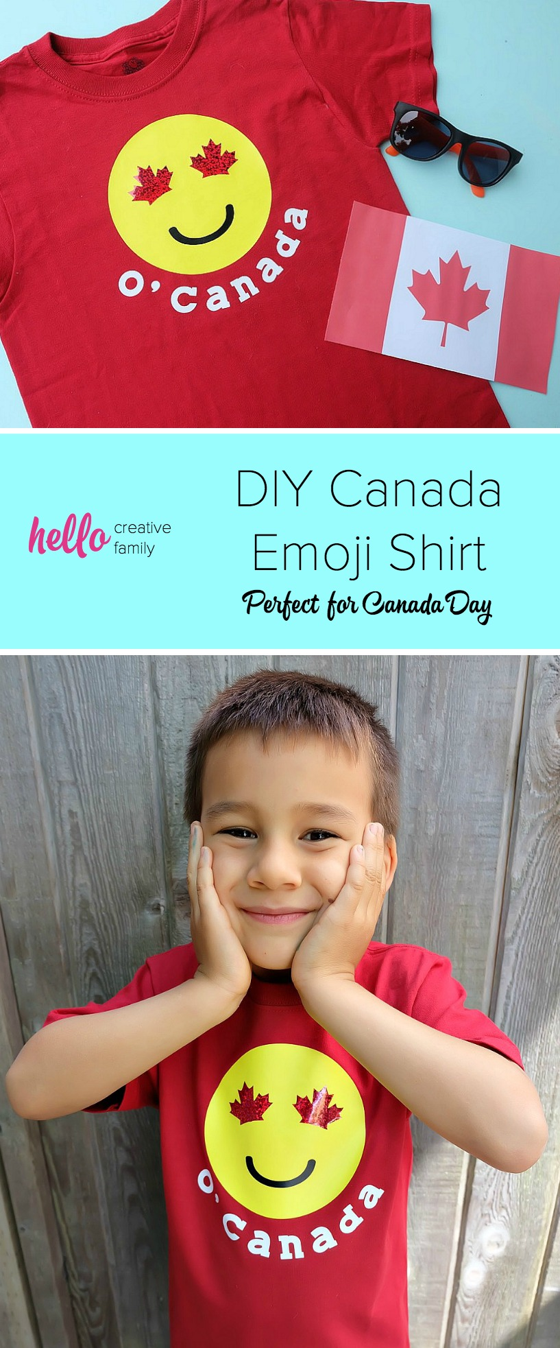 Celebrate Canada Day and your Canadian Patriotism with a super cute shirt! This DIY Canada Emoji Shirt has maple leafs for the eyes and is perfect for emoji loving kids. Includes easy step by step instructions and photos along with the cut file. Perfect for making with your Cricut Explore Air or your Cricut Maker. Get crafting! #CricutMade #emojis #Cricut #CanadaDay #DIY