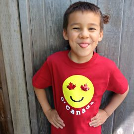 Celebrate your Canadian Patriotism and your love for emojis with one super cute shirt! This DIY Canada Emoji Shirt has maple leafs for the eyes and is perfect for Canada Day. Includes easy step by step instructions and photos along with the cut file. Perfect for making with your Cricut Explore Air or your Cricut Maker. Get crafting! #CricutMade #emojis #Cricut #CanadaDay #DIY