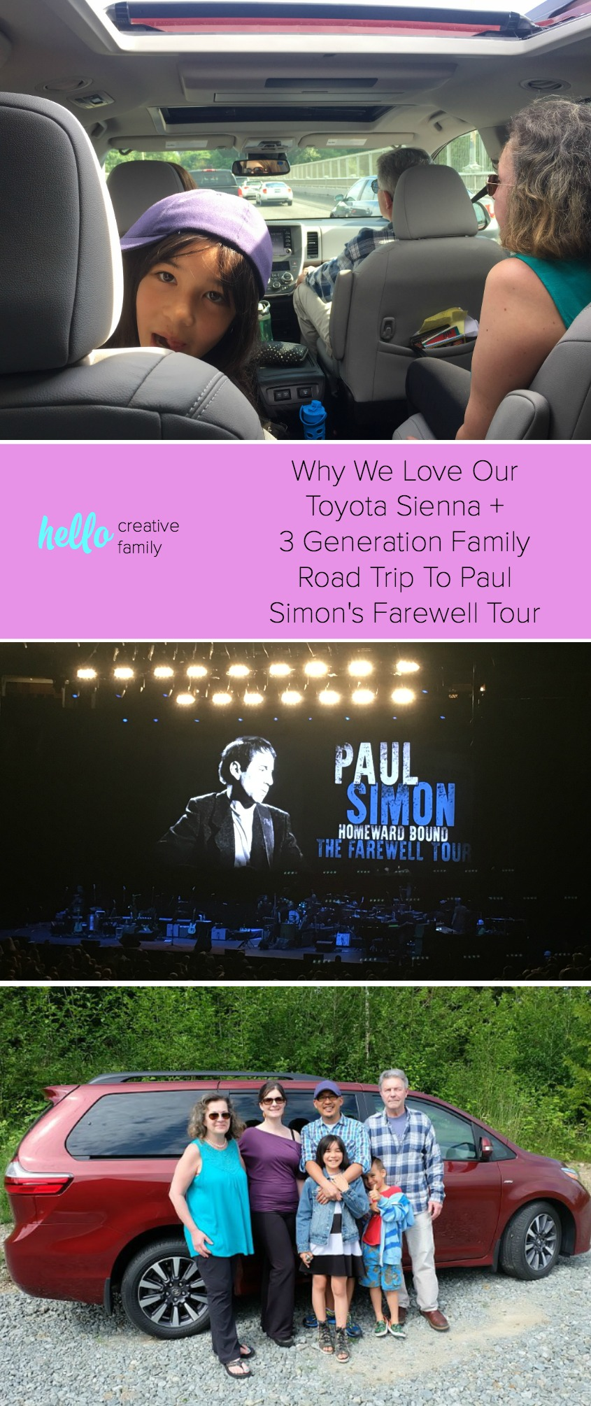 Hello Creative Family takes a road trip with three generations of their family to see the Paul Simon Concert in a 2018 Toyota Sienna. They share the experience plus a vehicle review of why the Toyota Sienna is the only vehicle the checks all the boxes for their family! #minivanmom #toyotasienna #minivan #vehiclereview #sponsored