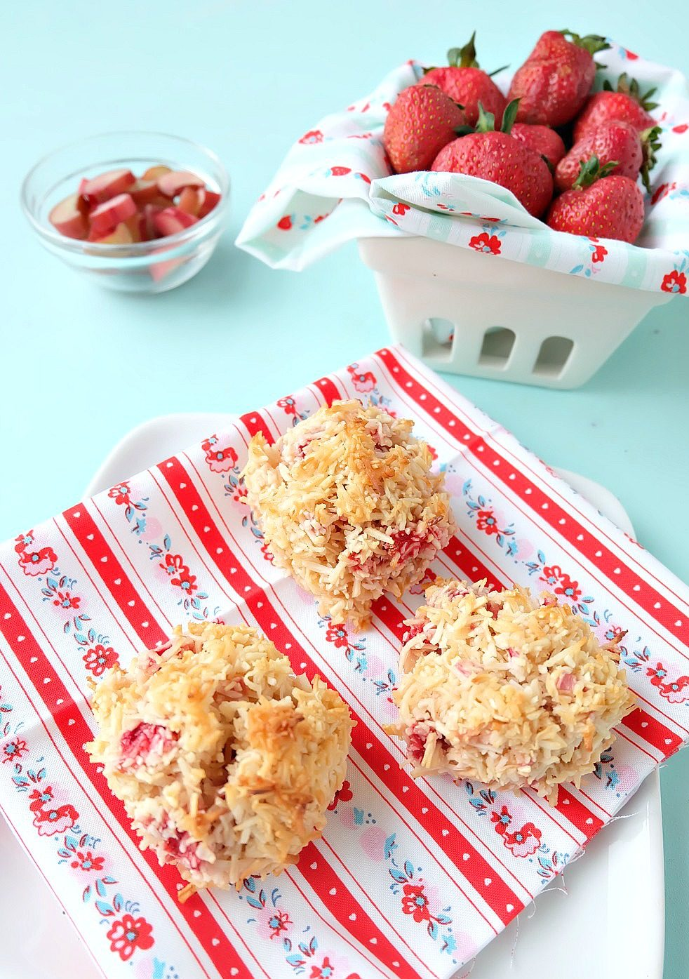 Strawberries and rhubarb come together in this delicious, easy to prepare, summer dessert idea! This Strawberry Rhubarb Coconut Macaroon Recipe is simple to make and is a perfect kids cooking recipe! Makes a great freezer dessert too, freeze extras and have cookies for months! #Baking #StrawberryRhubarb #Coconut #Macaroon #Dessert