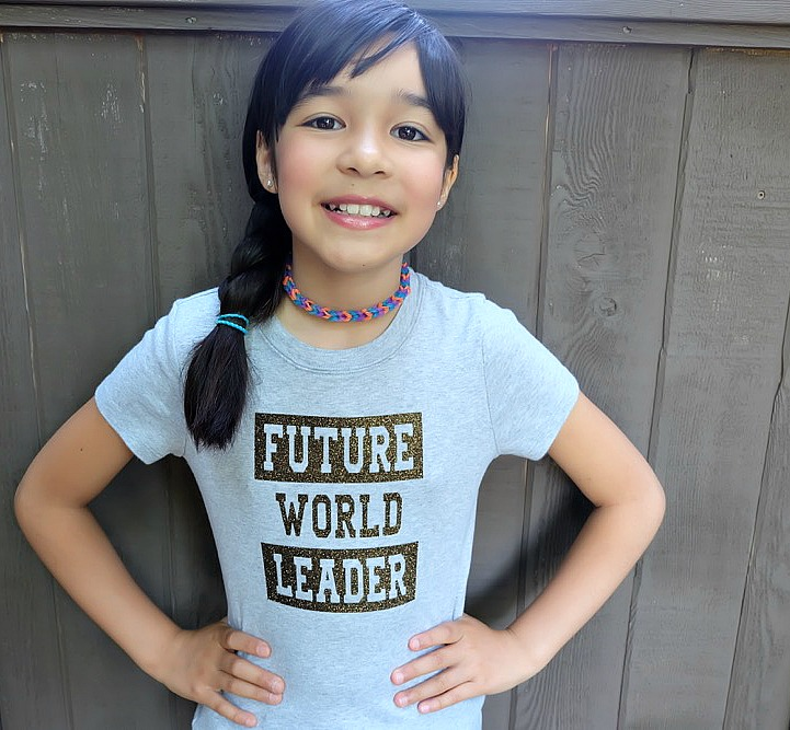 Inspire kids to create a future full of kindness and respect with this DIY Future World Leader Shirt! Includes instructions and a free cut file for making this graphic tee using your Cricut Explore or Cricut Maker. #Cricut #CricutMade #kidsclothing #DIY