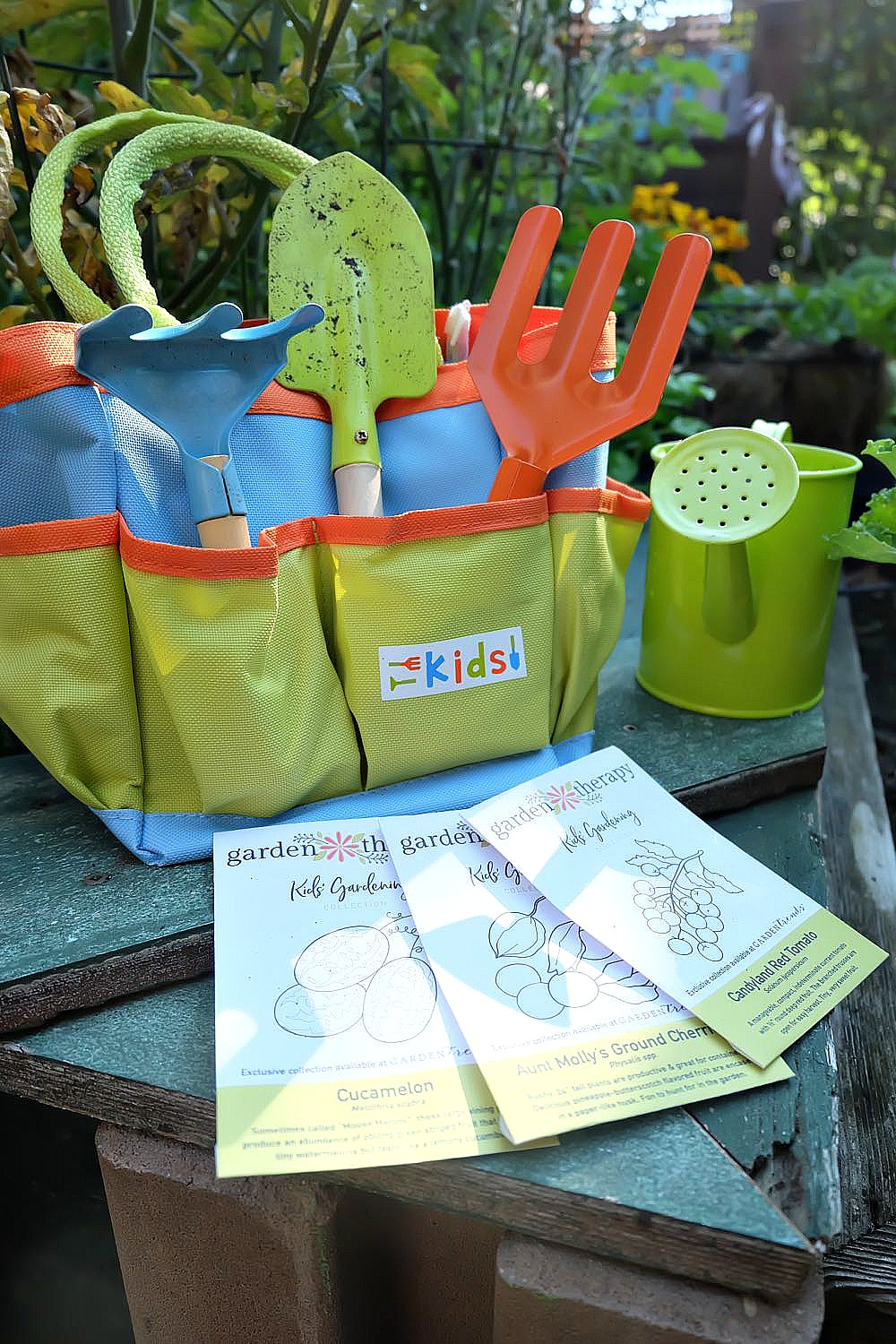 Garden Therapy's Kids' Gardening Kit is filled with fun seeds that the whole family will love. A great idea for teaching kids how to garden and where food comes from. #Gardening #KidsGardening #Seeds #GiftIdea
