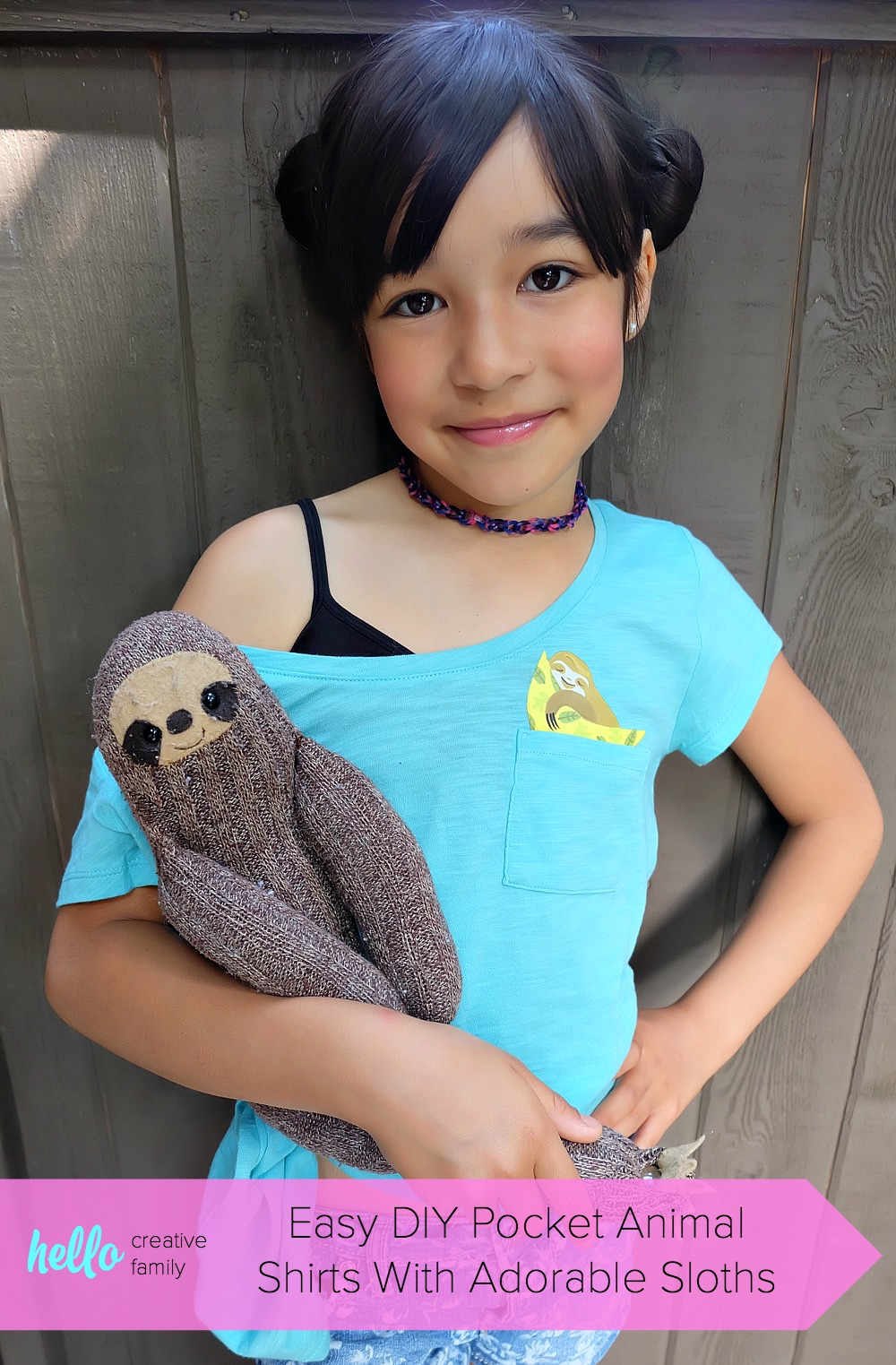 DIY an adorable pocket animal shirt in 5 minutes or less! Create a handmade version of the latest trend in kids clothing! Choose either a sloth eating ice cream or a sloth napping in a hammock and get your craft on! #DIY #KidsClothing #Handmade #BackToSchool #PocketShirt