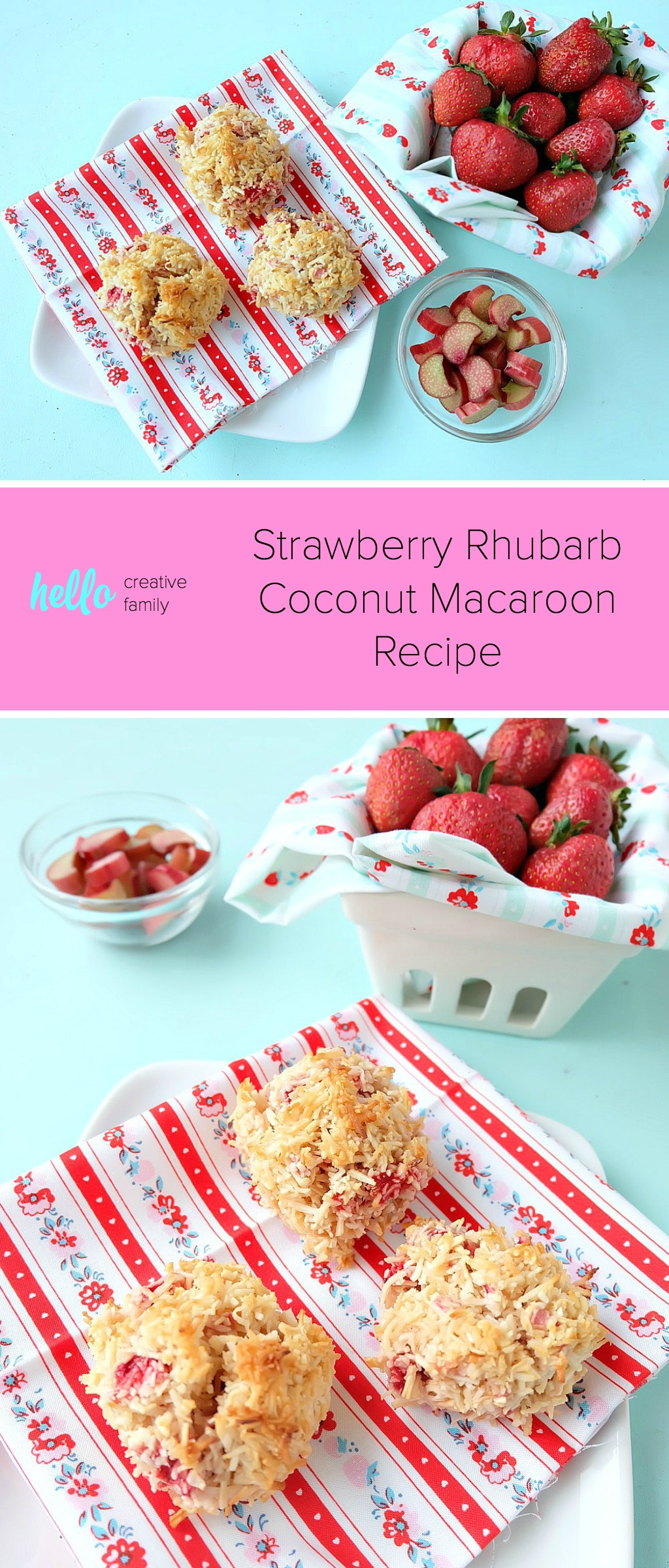 The perfect summer dessert idea! Fresh strawberries and rhubarb come together combined with the tropical flavor of coconut in this delicious, easy to prepare dessert idea! This Strawberry Rhubarb Coconut Macaroon Recipe is simple to make and is a perfect for kids baking! Makes a great freezer dessert too, freeze extras and have cookies for months! #Baking #StrawberryRhubarb #Coconut #Macaroon #Dessert