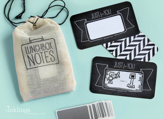 Handmade School Supplies & Accessories You'll Love: Black and White Scratch Off Lunch Box Notes From Inklings Paperie