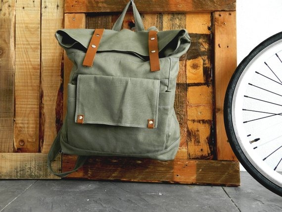 School Accessories You'll Love: Canvas and Leather Strap Backpack from Christy Studio
