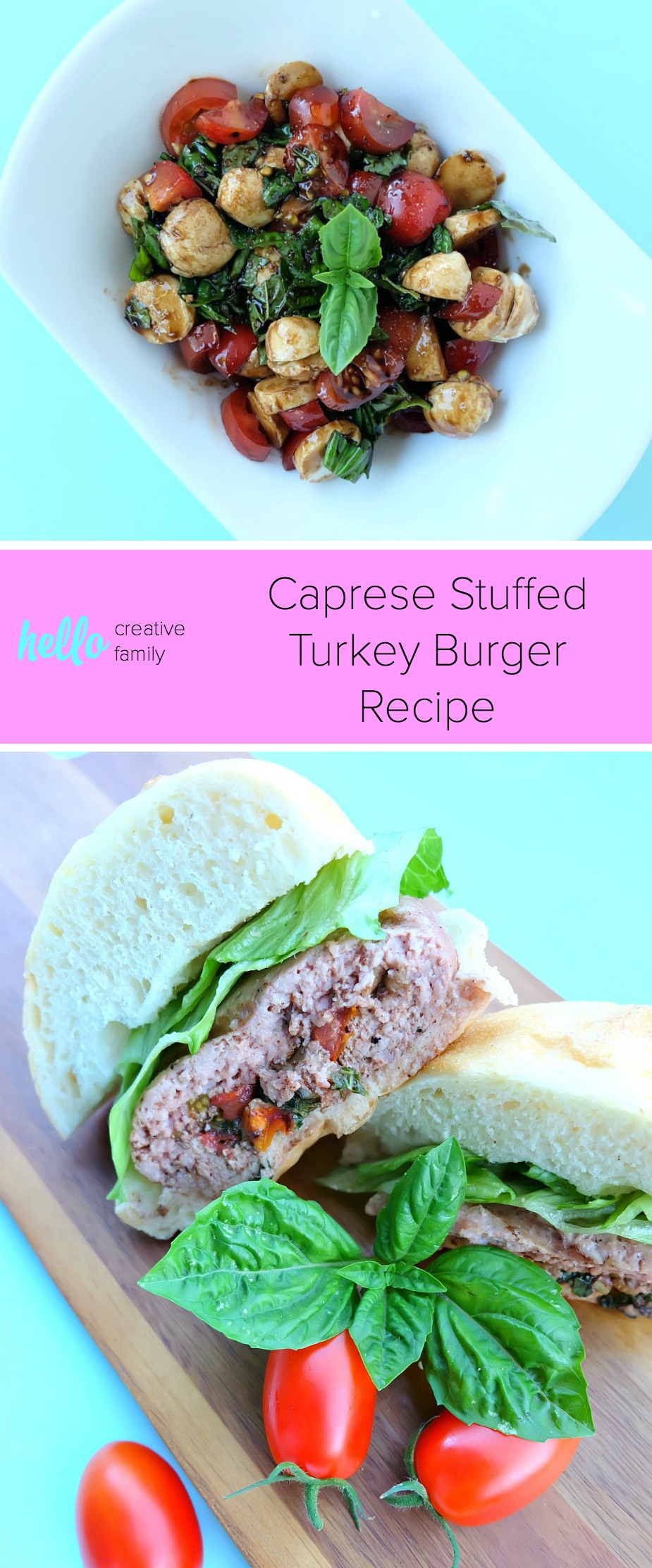 Fire up the BBQ and get out of the hot kitchen! This Caprese Stuffed Turkey Burger Recipe is filled with all of the flavors of summer. Juicy, flavorful and a healthy burger too! You'll feel good about feeding this easy 30 minute meal to your family! #Turkey #Burger #StuffedBurger #Recipe #Sponsored