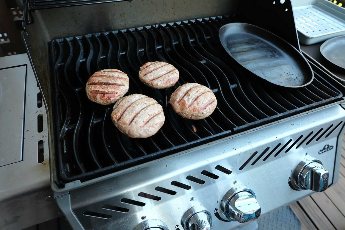 Caprese Stuffed Turkey Burgers Ready To Come off the Grill