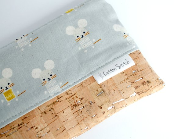 School Accessories You'll Love: Cork and Fabric Grey Mouse Pencil Pouch from Cotton Stitch Collect