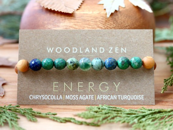 Handmade School Supplies & Accessories You'll Love: Crystal and Wood Anxiety Bracelet from Woodland Zen