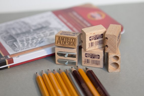 School Accessories You'll Love: Custom Engraved Wood Pencil Sharpeners from Amteco Design