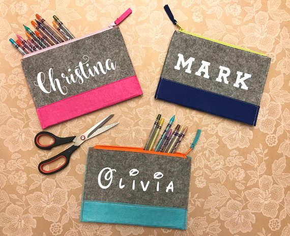 School Accessories You'll Love: Custom Felt Pencil Pouch from Handcrafted Mommy